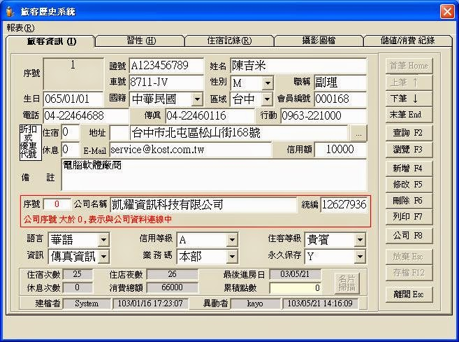 KAYO 旅館好幫手 飯店旅館前台管理系統軟體 歷史旅客管理作業畫面
