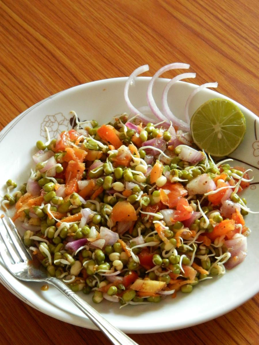 Healthy Sprouted Mung Bean Salad Recipe - Blend with Spices