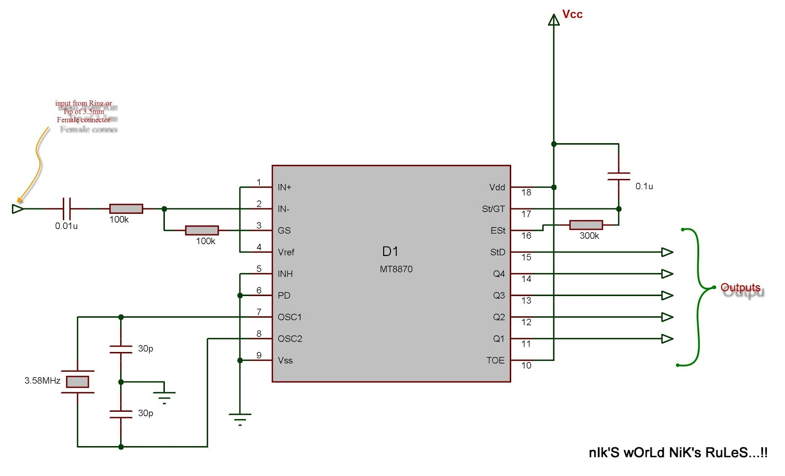 circuit diagram of decoding DTMF code using MT8870