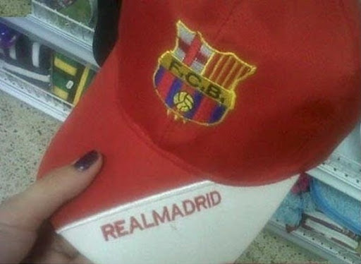 Barça hat and Madrid cap combo