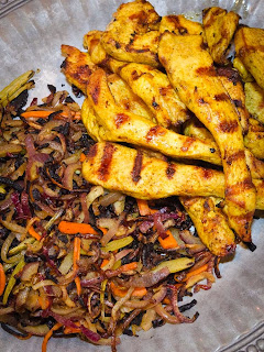 Grilled Chicken Shwarma with Grilled Vegetables