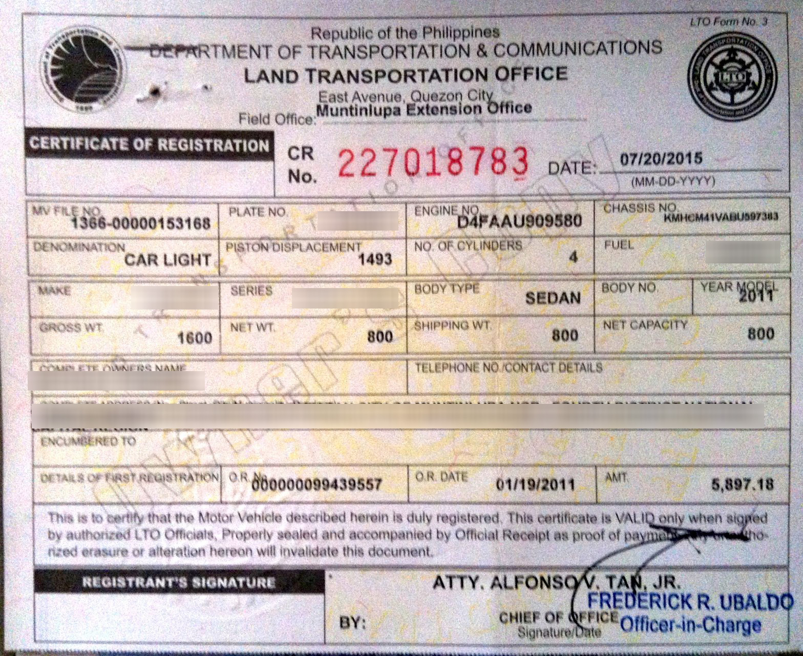 Car registration renewal pasig