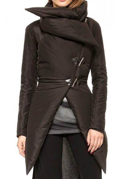 Black Plain Asymmetric Horn Button Quilt Type Padded Coat