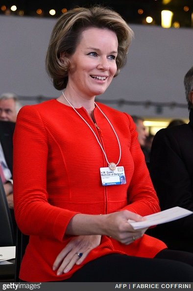 Queen Mathilde of Belgium looks on during the 22nd Annual Crystal Awards at the opening of the World Economic Forum in Davos on January 19, 2016. More than 40 heads of states and governments attend the WEF in Davos, which this year is focused on 'mastering the fourth Industrial Revolution,' organisers said.