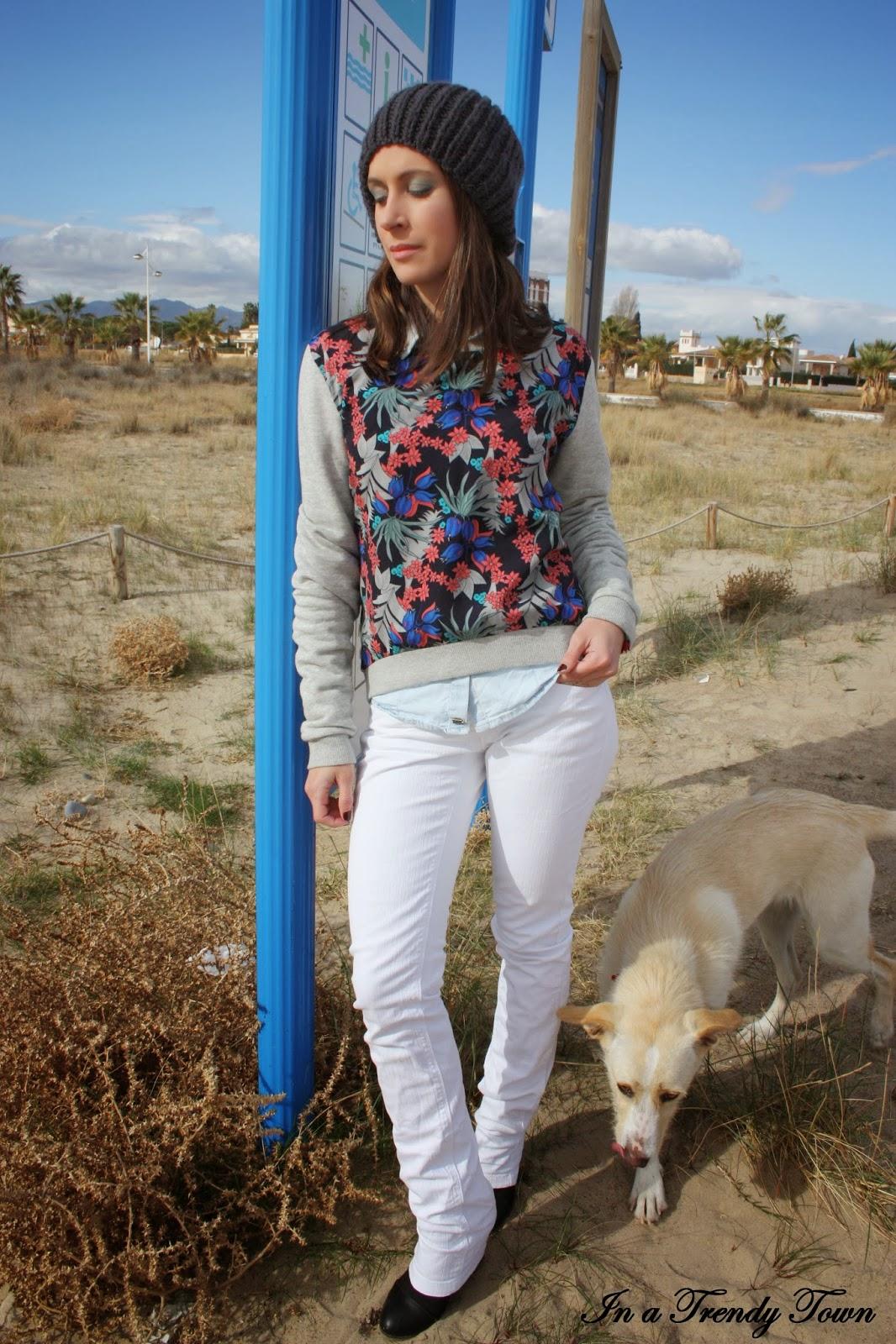 outfit beanie diy pepe jeans bershka mango