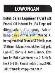 Lowongan Sales Engineer Lampung