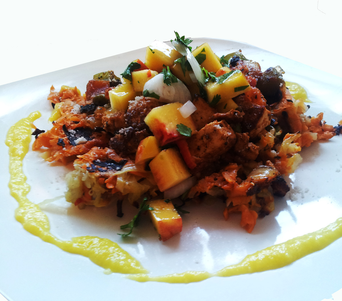 ... Sweet Potato Hash Browns with Tofu Scramble, Peach Salsa & Fresh Corn