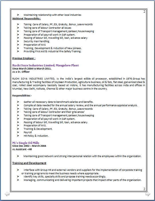 sle resume for industrial