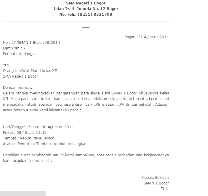 Inilah Contoh Surat Undangan Resmi Dari Sekolah Dan Dinas