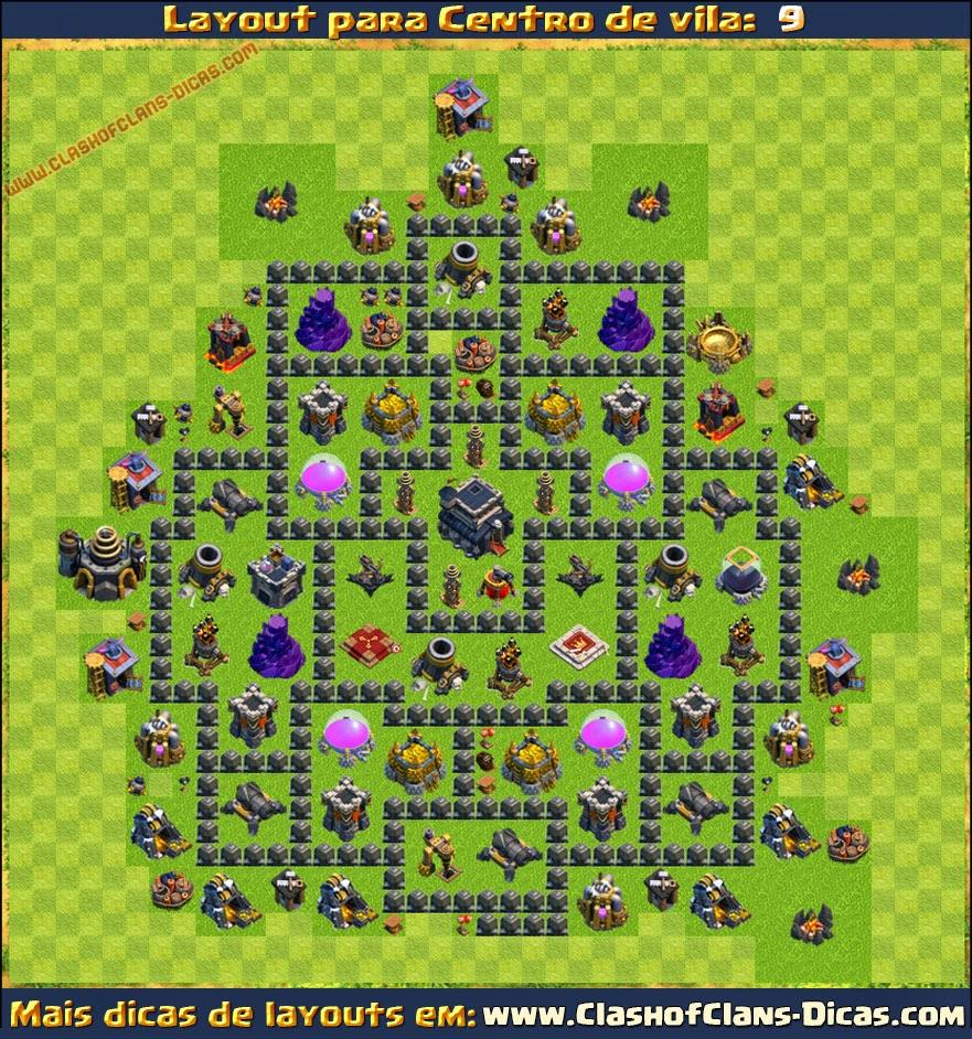 Layouts de Centro de vila 9 para Clash of Clans - Clash of