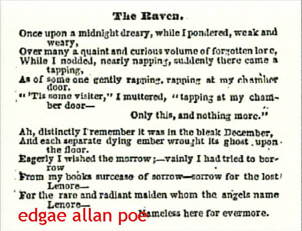 poem the raven by edgar allan poe essay Edgar allan poe 5 but the raven still beguiling all my sad soul into smiling, straight i wheeled a cushioned seat in front of bird and bust and door.