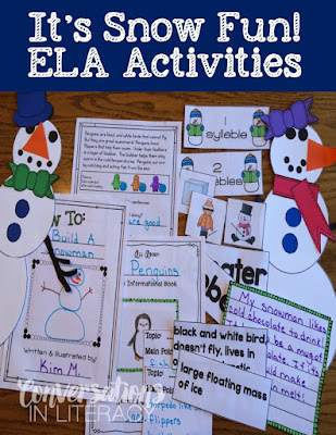 snowman literacy activities and snowman craft