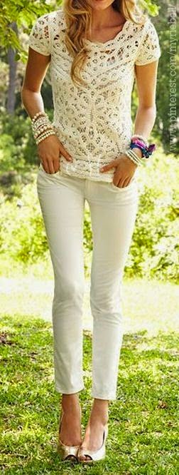 All White Summer Fashion Styles – Lace Top Skinnies