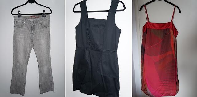 lojinha da Carina Pedro no Enjoei: calça Levis com elastano, vestido pretinho básico e vestido vermelho estampado