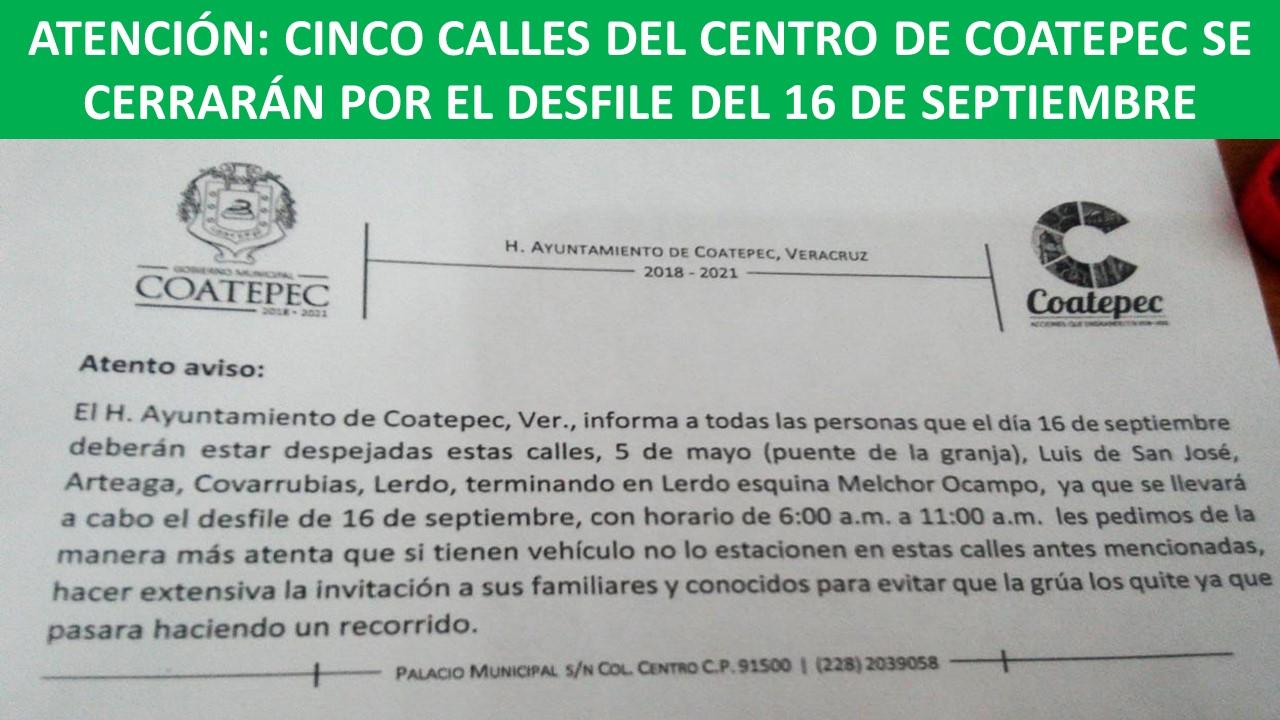 SE CERRARÁN POR EL DESFILE DEL 16 DE SEPTIEMBRE