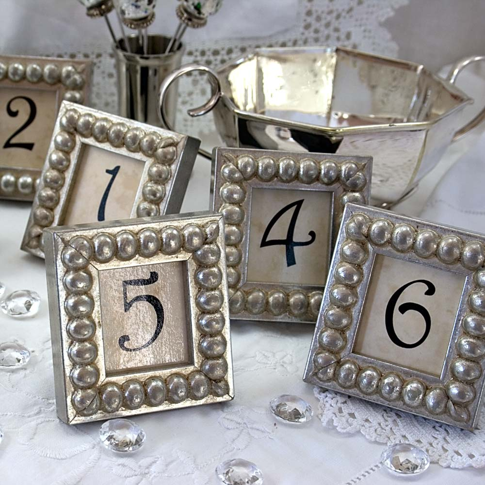 Details in the Decor: Table Numbers in Silver Boules Mini Frames for ...