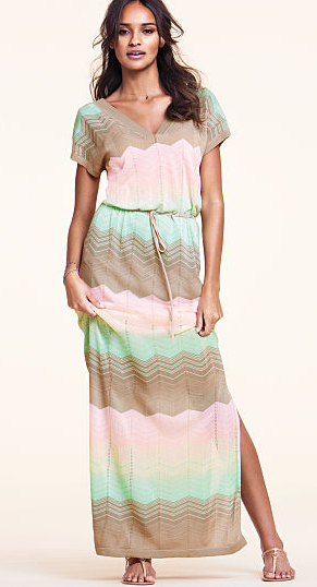 Mint and beige short-sleeved maxi dress from Victoria's Secret