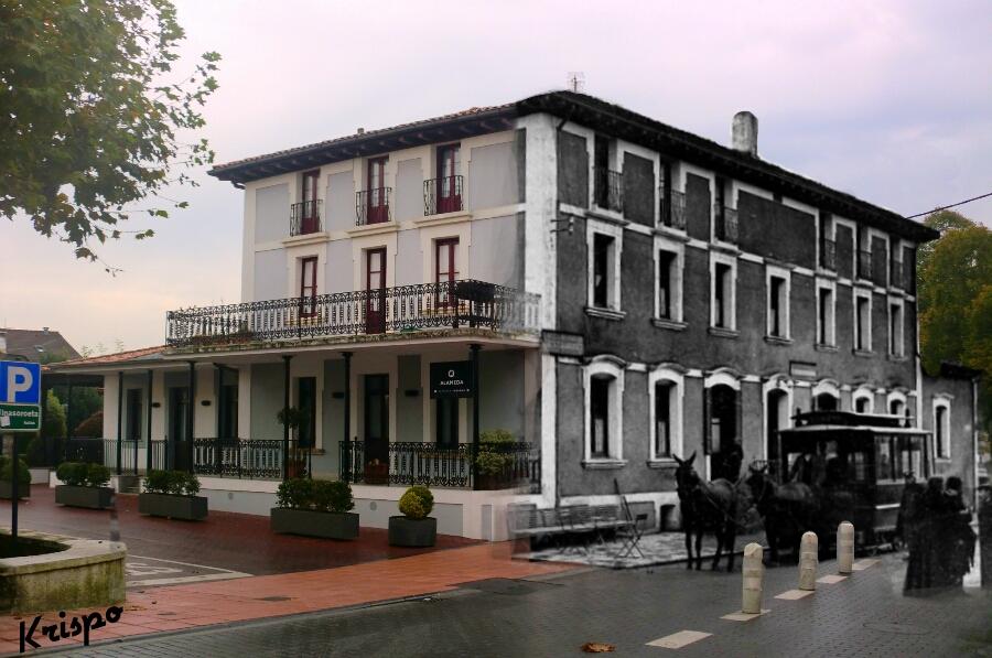 mezcla de imagen antigua y nueva del edificio del restaurante alameda de hondarribia