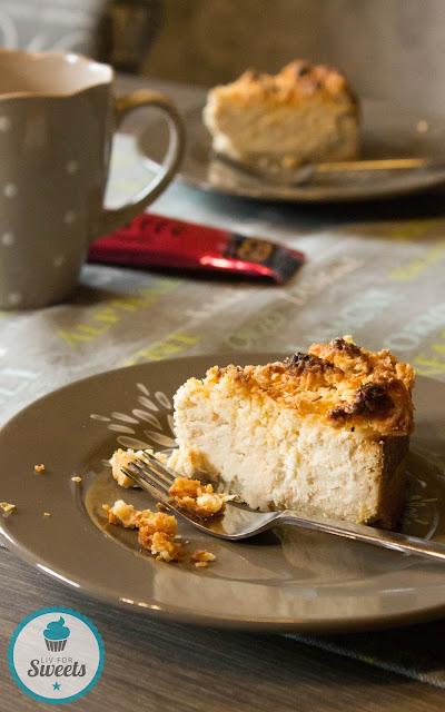 Kokos, Mandel, Krüger Chai Latte Exotic India, Chai-Latte, Käsekuchen, Cheesecake, Mandelmürbeteig, Kokosstreusel, Kokoskrümel, Almond, Rezept, Thermomix, Degustabox
