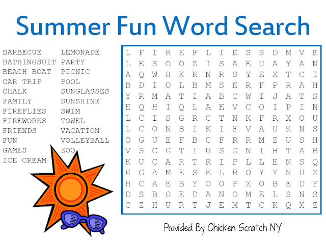 Dramatic image pertaining to summer word search printable