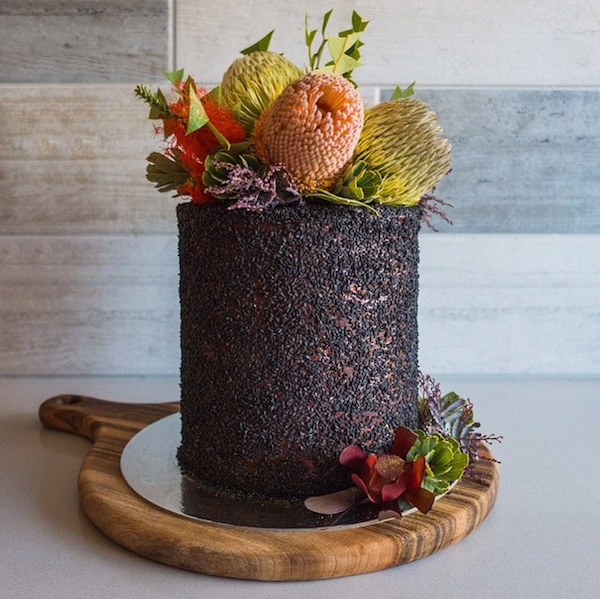 Woodland inspired wedding cake with chocolate brownie layer