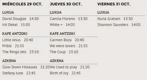 BIME, 2014, Showcases, horario, concierto, festival