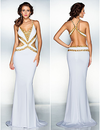 Vestido de Noche Largo Blanco de Espalda Descubierta
