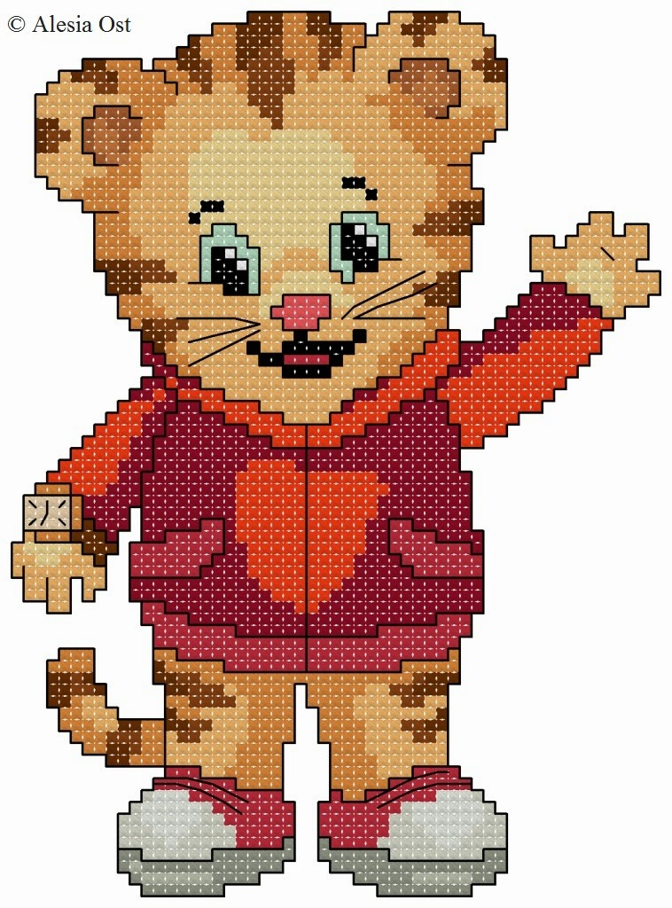 Free cross-stitch patterns, Daniel Tiger, tiger, animal, Daniel Tiger's Neighborhood, cartoon, cross-stitch, back stitch, cross-stitch scheme, free pattern, x-stitchmagic.blogspot.it, вышивка крестиком, бесплатная схема, punto croce, schemi punto croce gratis, DMC, blocks, symbols