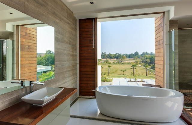 Modern bathtub by the window