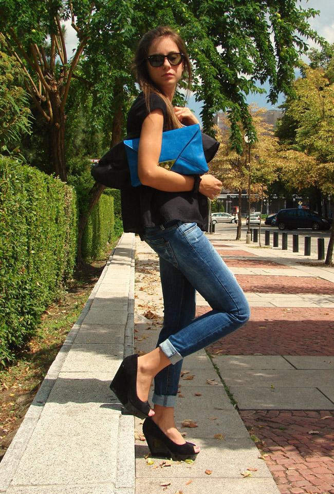asos blue leather portfolio clutch, topshop black zip top, zara destroyed jeans, asos black suede wedges, asos blue clutch, i heart maya blog, iheartmaya, lookbook, chictopia, lookture