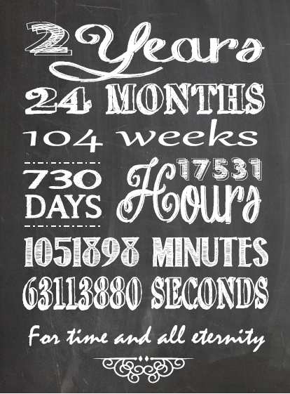 2 Month Wedding Anniversary Ideas : One Willis Family: 2 Year anniversary chalkboard printable