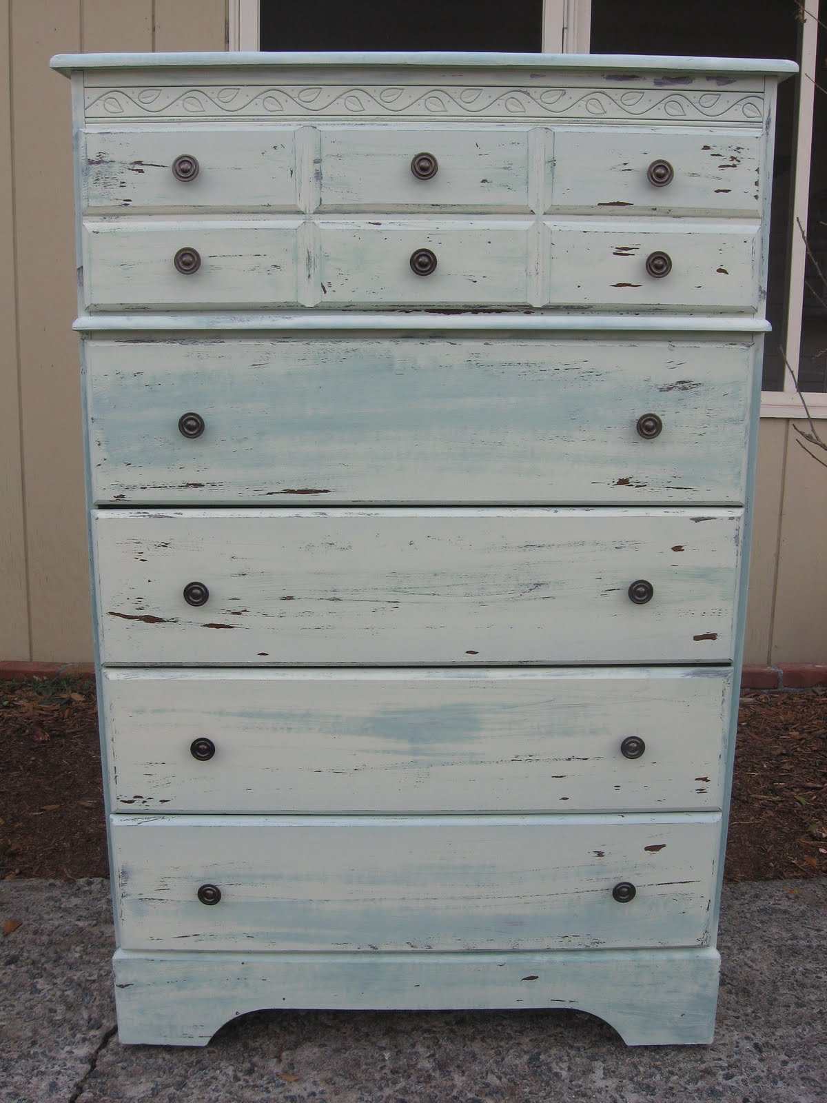 Green Chest Of Drawers With White Wash Finish   Sold!