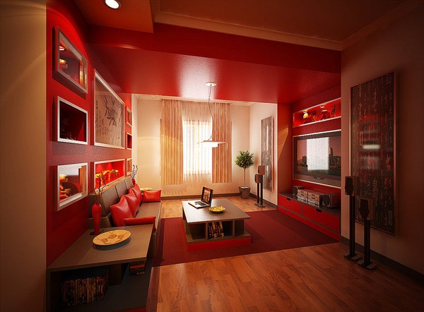 penggunaan warna merah di ruang tamu minimalis rancangan