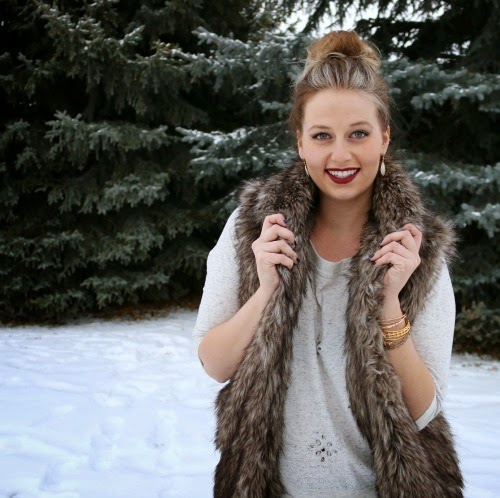 faux fur vest, mason and belle, alex and ani, berry lipstick, mac cosmetics