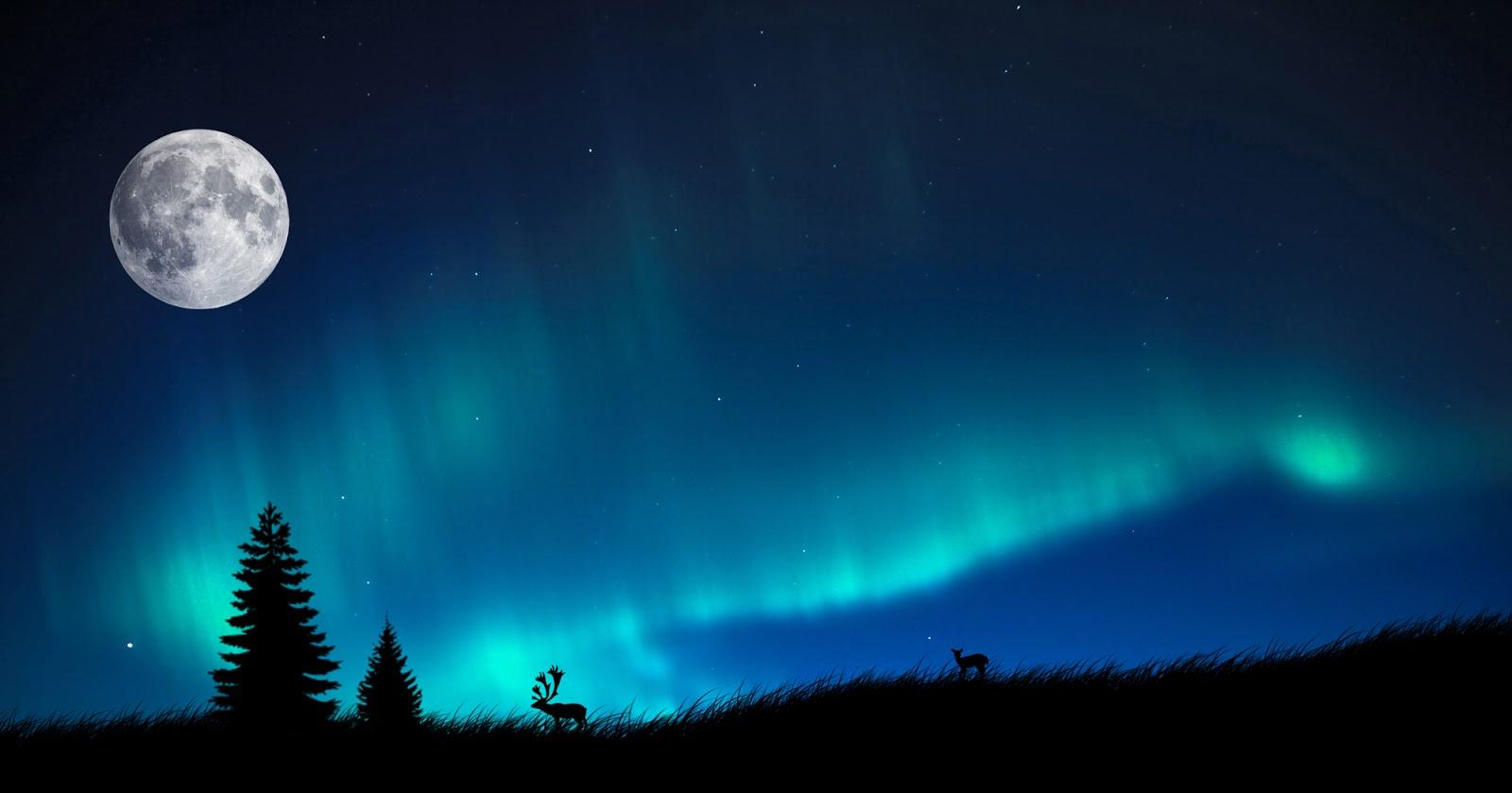moon and aurora borealis wallpaper - beauty walpaper