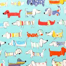 Tela perritos azul