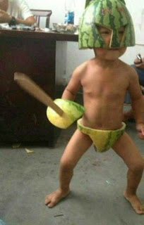 watermelon, sword, child, naked, ridiculous, hilarious, helmet