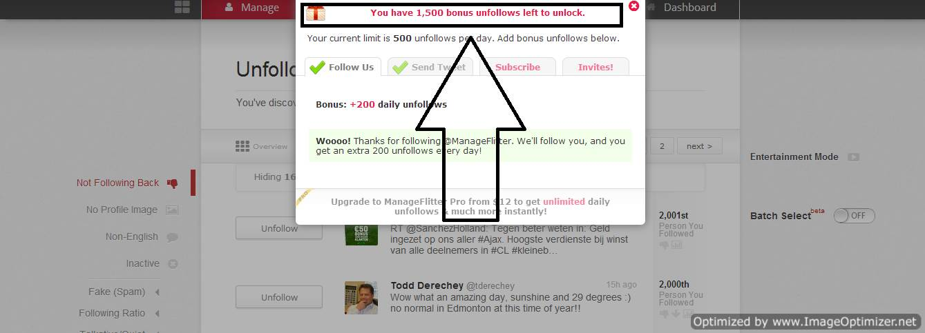 Increase unfollow Limit in Manageflitter