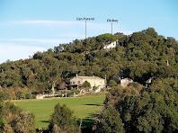 Les cases de Can Pararol i l'Arboç des del Camí d'Hostalric a Sant Feliu de Buixalleu