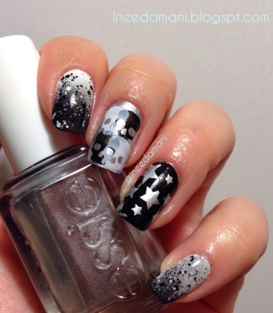 rocker chic black, white, and silver nails