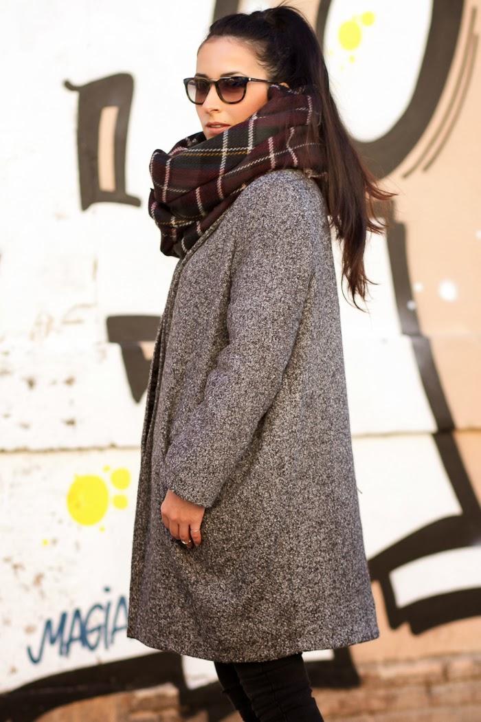 Abrigo Gris de lana oversized con bolsillos estilo Isabel Marant