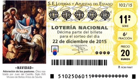 Lotería Navidad 2015 décimo premios