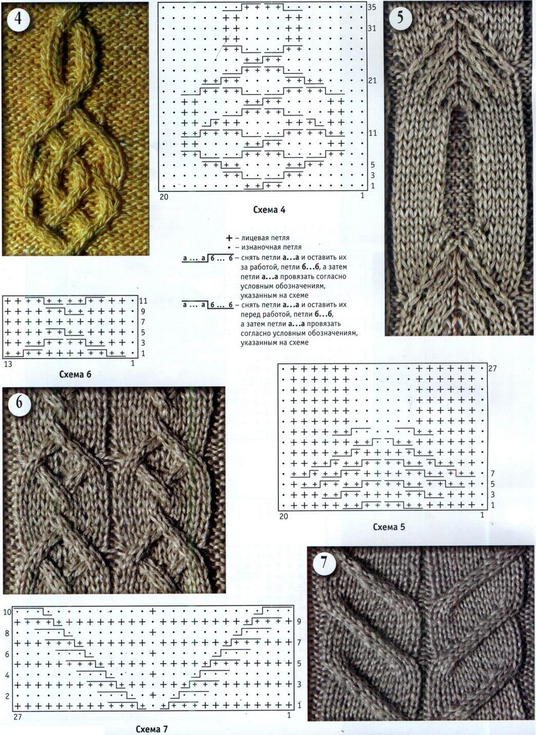 Узоры для вязания спицами.  Patterns for knitting