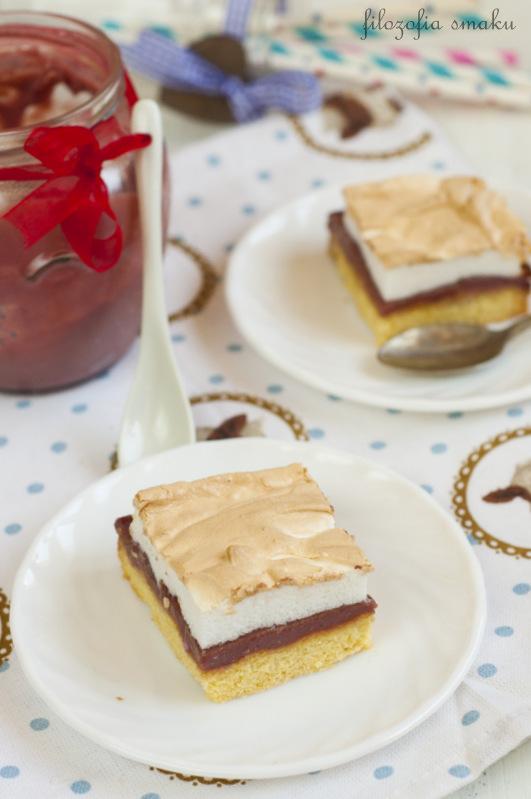 Ciasto z malinowym curdem i bezą