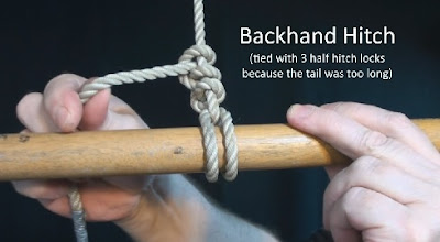 demonstration of backhand hitch knot