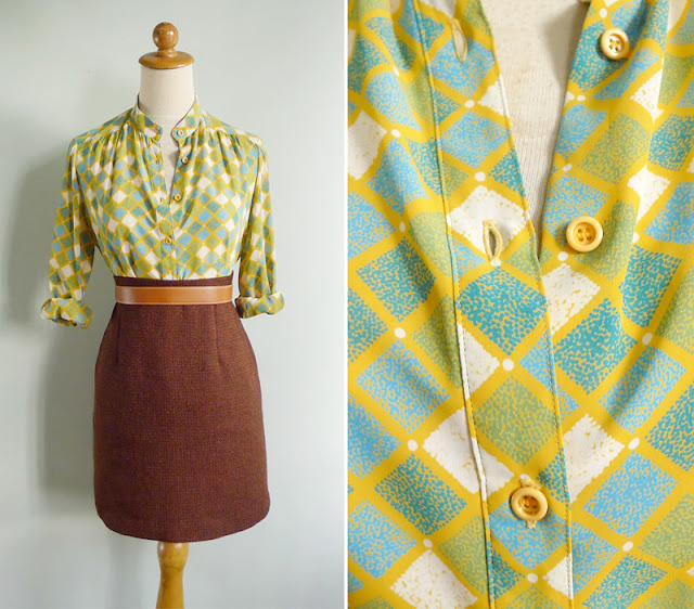 vintage green yellow checkered shirt