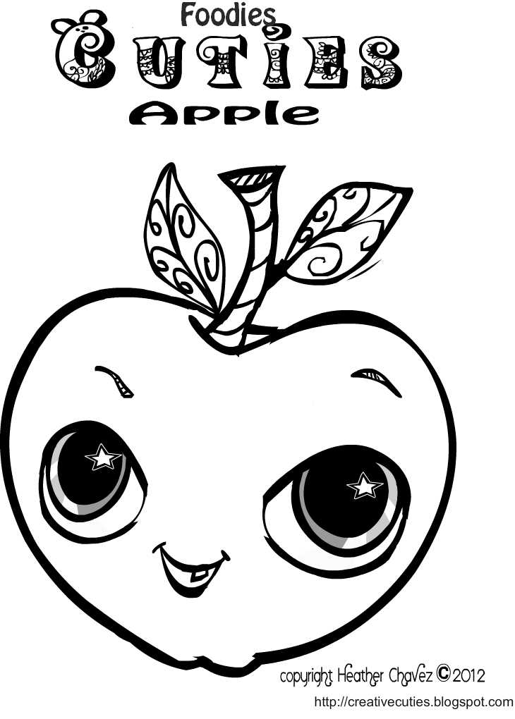 Creative Cuties: Foodies Cuties_ Apple coloring page