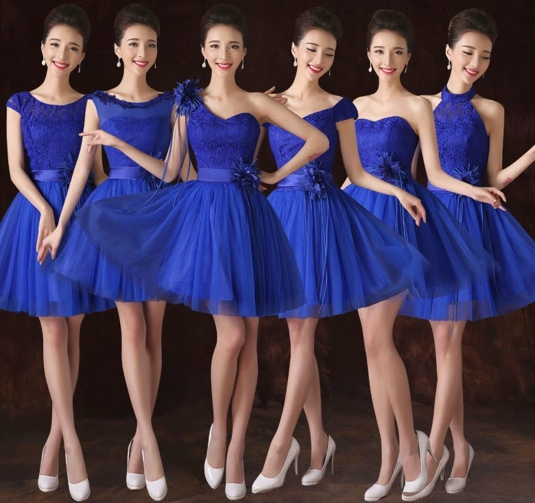 6-Design Royal Blue Tutu Midi Bridesmaids Dress