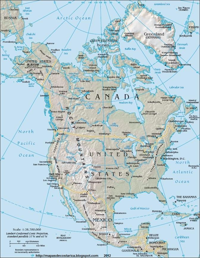 Mapa Mudo Fisico America Norte Para Imprimir