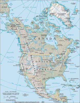 Mapa fisico-politico de Norteamerica